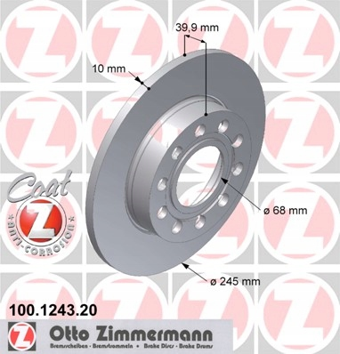 диски колодки zimmermann p + t audi a4 b6 288mm, фото 4