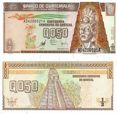 # ГВАТЕМАЛА - 1 /2 QUETZALA - 1998 - P-98 - UNC