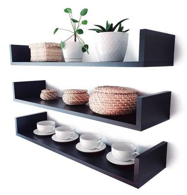 Półki na ścianę wiszące 3szt. czarne 100cm gł.15cm