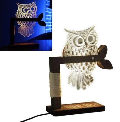 LAMPKA STOŁOWA LAMPA ŚCIEMNIALNA LED SOWA 3D NOCNA