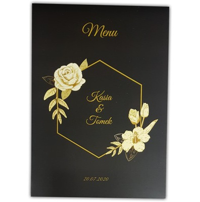 Menu weselne ślub karta dań posiłków złote motywy