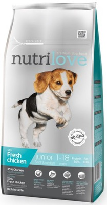 Nutrilove Premium Junior malé, stredné - 8 kg