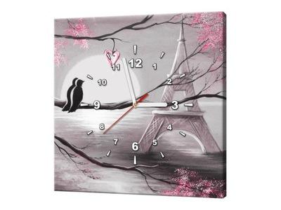 Zegar 40x40 Romantyczny wschód słońca w Paryżu