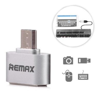 Adapter Remax OTG Micro USB na USB srebrny