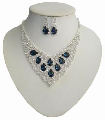 Biżuteria ślubna cyrkonie piękny komplet srebrny