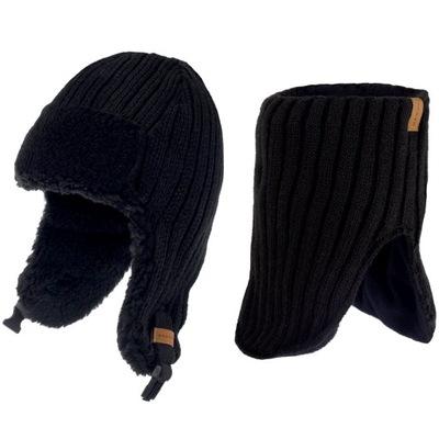 NANDY komplet męski czapka uszatka i komin