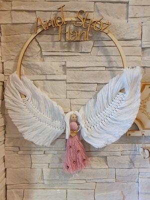 Anioł Stróż makrama prezent na roczek chrzest