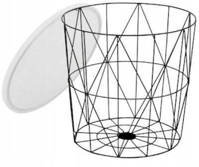 Ława stolik druciany Mariffa biały/czarny HALMAR
