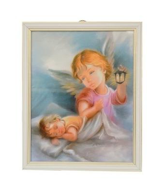 картина ангел Сторож белой рамке с Latarenka