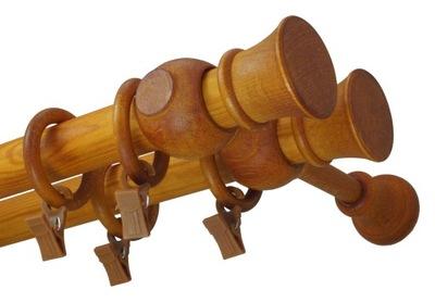 Karnisz drewniany fi 28 podwójny 1,3 m 130 cm