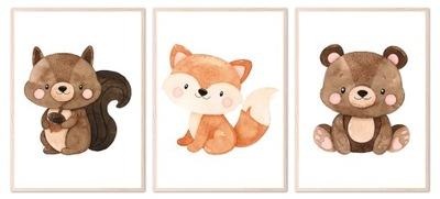 Zestaw 3 plakatów obrazków 50x70 zwierzęta