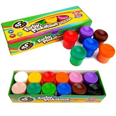 Farby PLAKATOWE 12 Kolorów Farbki 20 ml ASTRA