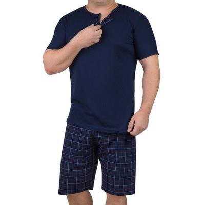 PIŻAMA MĘSKA spodnie krata 3 guziki wygodna - 2XL