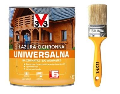 V33 3V3 Lazura Ochronna Uniwersalna 6lat 5L+PĘDZEL