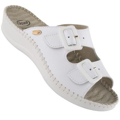 Skórzane sandały medyczne CXS Mika, damskie, białe