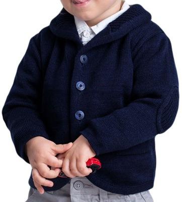 Granatowy sweterek rozpinany dla chłopca 104