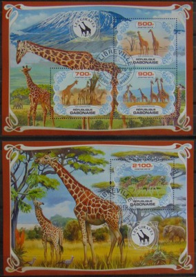 Жирафы фауна африканский Габон листов.+bl. #38125a-B