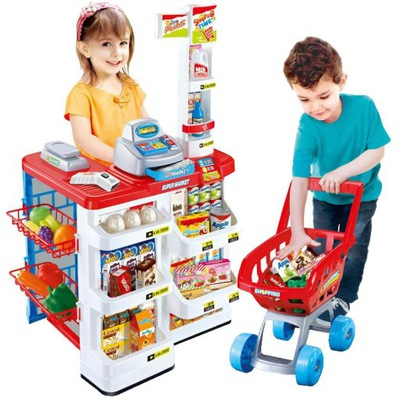 Obchod supermarket pokladne pre deti zásobník +kôš