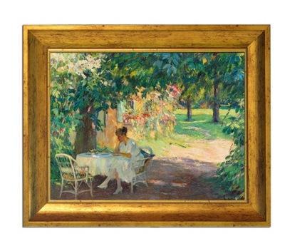 Lato w ogrodzie, przepiękny obraz w złotej ramie