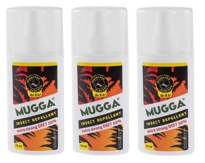 ZESTAW 3 x Mugga Strong 50% DEET 75 ml na kleszcze