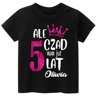 Koszulka URODZINY 5 lat imię dziecka BROKAT r. 122