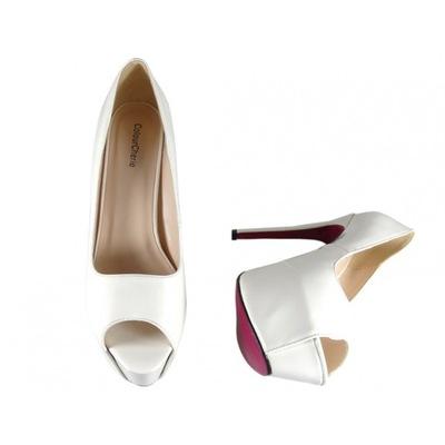 Buty na obcasie dla mężczyzn białe szpilki 43