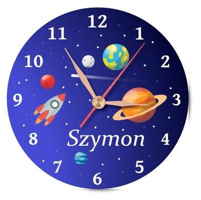 Zegar na ścianę z imieniem dla dzieci KOSMOS