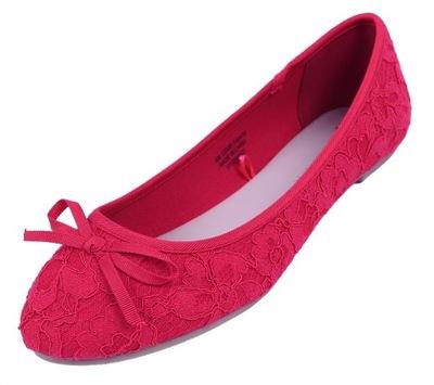 Czerwone, koronkowe baleriny PRIMARK 38