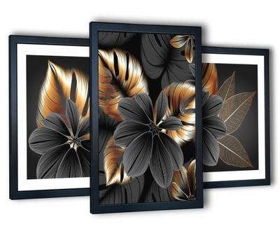 3 obrazy w ramach na ścianę salon 130x63