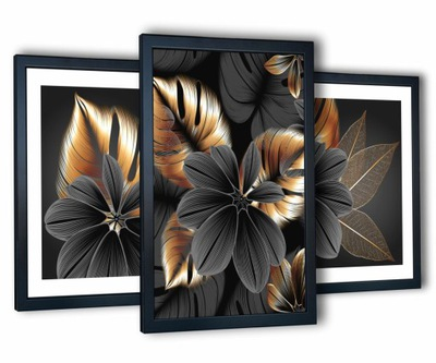 3 obrazy w ramach na ścianę salon 43x99