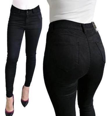Spodnie CZARNE Jeansy PUSH UP Plus Size duże 42 XL