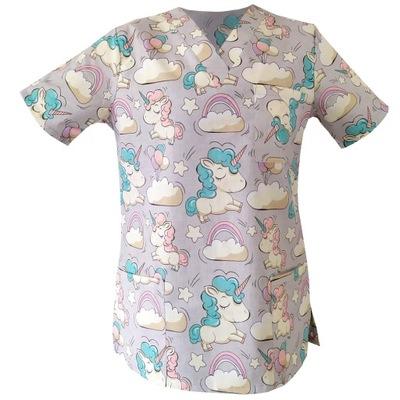 Bluza medyczna damska fartuch kolorowy wzorek M