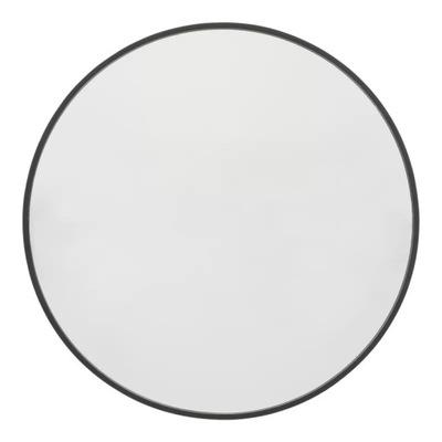 Okrúhle nástenné zrkadlo 61 cm, čierny rám, kovový loft