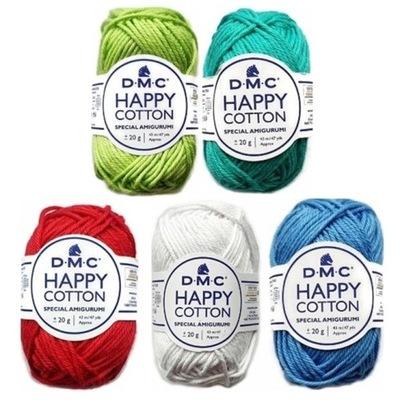 ZESTAW DMC HAPPY COTTON AMIGURUMI CUSTOM 5 kolorów