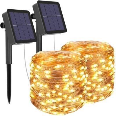 2 SZT 50 Led Lampki Solarne Ogrodowe Żarówka Lampa