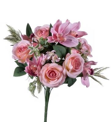 Róża ze storczykiem bukiet jasno różowy sztuczny
