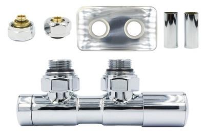 Regulačný ventil Dvojčatá 50 mm chróm + PEX konektory + rozeta Vpravo