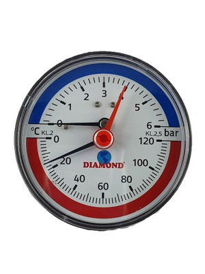 "DIOMOND termomanometer 80 1/2 ""6Bar 120'C vzadu"