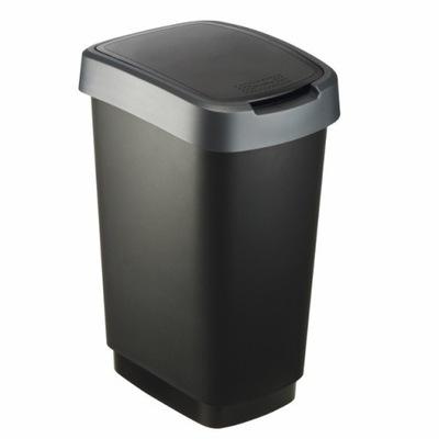 Kosz na śmieci 25 L TWIST czarny/srebrny