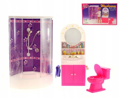 Kúpeľňa pre bábiku, sprchovacím kútom, wc, zrkadlová Skrinka