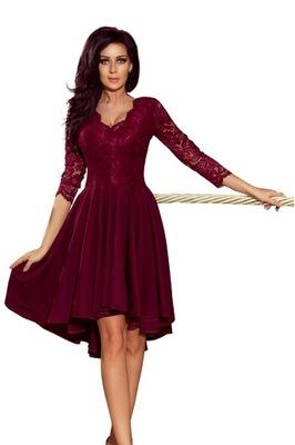 NICOLLE Sukienka z koronkowym dekoltem BORDOWA r.S