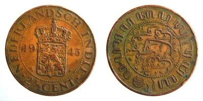 7785. Индия ГОЛЛАНДСКИЙ, 2 i1/2CENTA, 1945 г., 31 мм