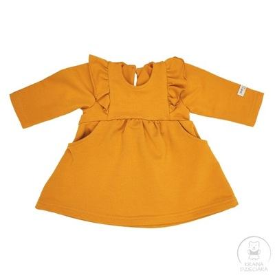 Sukienka miodowa SIMPLY COMFY z falbankami