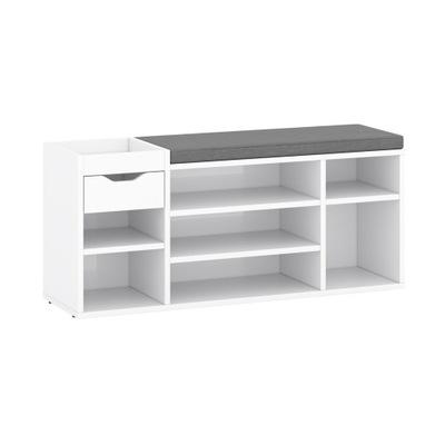 Szafka na buty z siedziskiem szufladą półki biały