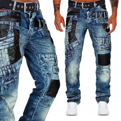 Spodnie Cipo Baxx Jeansy Military Skóra 3D Zamki