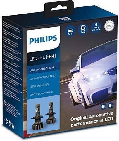 LUCES PHILIPS DIODO LUMINOSO LED H4 ULTINON PRO9000 2 PIEZAS