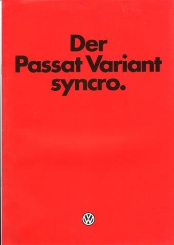 VW PASSAT VARIANT SYNCRO - prospekt 1986