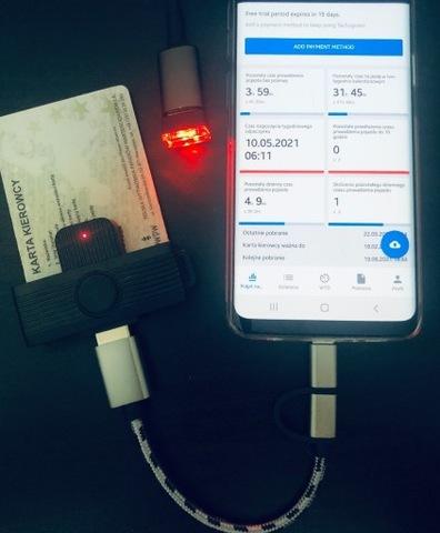 СВЕТОДИОД LED USB + СЧИТЫВАТЕЛЬ КАРТ KIEROWCOW - USB C / M
