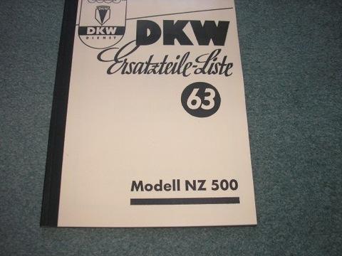 DKW NZ 500 - KATALOG ЗАПЧАСТИ