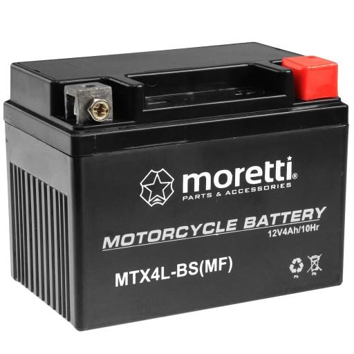 аккумулятор żelowy mtx4l-bs ytx4l-bs 4ah moretti, фото